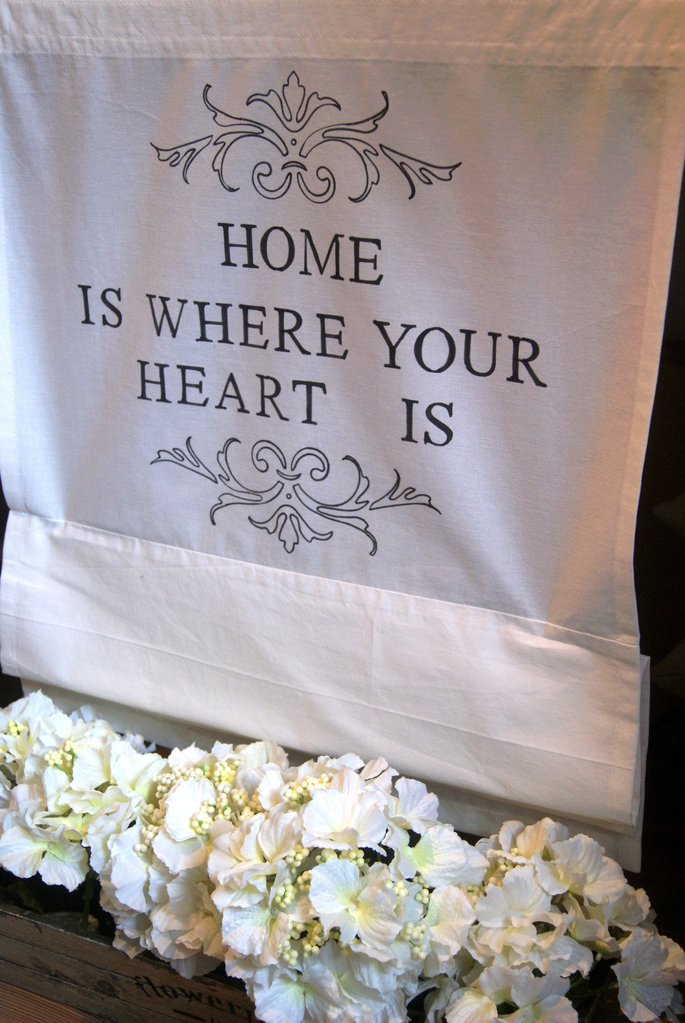 Raffrollo Home is where your heart is Farbe: reinweiß